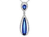 Blue Lab Spinel Sterling Silver Pendant With Chain 3.03ctw