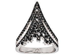 Black Spinel Sterling Silver Ring 1.10ctw