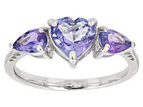 Blue Tanzanite Sterling Silver Ring 1.54ctw