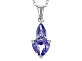 Blue Tanzanite Sterling Silver Pendant With Chain 1.26ctw