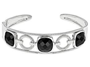 Black Spinel Sterling Silver Cuff Bracelet 26.50ctw