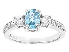 Blue Zircon Sterling Silver Ring 1.56ctw