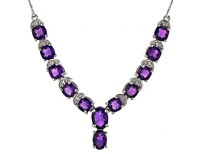 Purple Amethyst Sterling Silver Necklace 5.86ctw