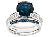 London Blue Topaz Sterling Silver Ring and Enhancer Set 4.47ctw