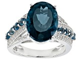 London Blue Topaz Sterling Silver Ring 7.27ctw