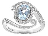 Blue Aquamarine Sterling Silver Ring 1.76ctw