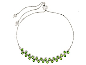 Green Chrome Diopside Sterling Silver Bolo Bracelet 1.61ctw