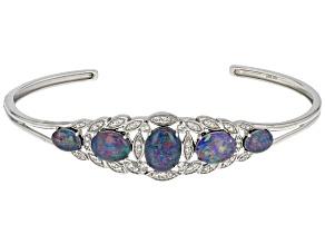 Multicolor Australian Opal Triplet Silver Bracelet .74ctw