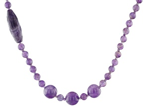 Purple Amethyst Sterling Silver Bead Necklace 200.00ctw