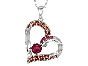 Mahaleo Ruby Sterling Silver Heart Pendant With Chain .80ctw