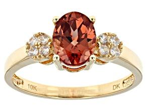 Red Malaya Garnet 10k Yellow Gold Ring  1.42ctw