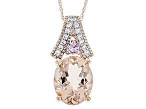 Pink Morganite 10k Rose Gold Pendant With Chain 2.38ctw