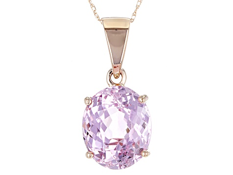 Pink Kunzite 10k Rose Gold Pendant With Chain 4.75ctw