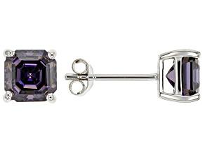 Purple Fabulite Strontium Titanate 10k White Gold Stud Earring 2.99ctw