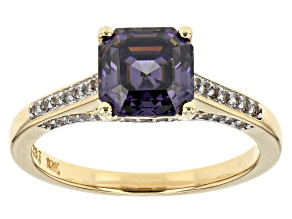 Purple Fabulite Strontium Titanate And White Zircon 10k Yellow Gold Ring 2.71ctw