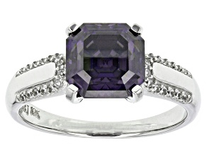 Purple Fabulite Strontium Titanate And White Zircon 10k White Gold Ring 3.64ctw