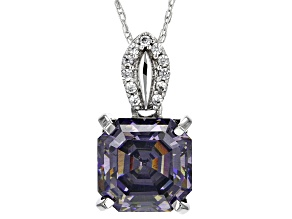 Purple  Strontium Ttitanate 10k White Gold Pendant With Chain 3.53ctw