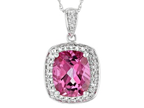 Pure Pink™ Topaz 10k White Gold Pendant With Chain 3.46ctw
