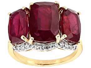 Red Ruby 10k Yellow Gold Ring 12.17ctw