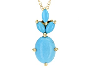 Blue Turquoise 10k Yellow Gold Pendant With Chain