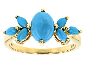 Blue Turquoise 10k Yellow Gold