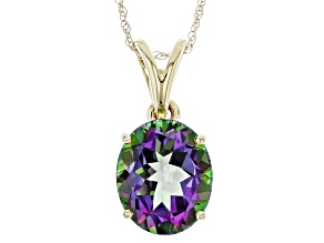 Mystic Topaz® 10k Yellow Gold Pendant With Chain 5.00ct