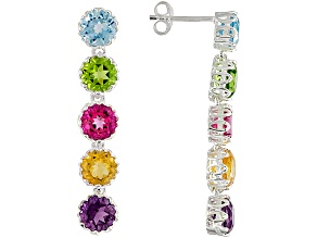 Multi Gem 5.44ctw Round Sterling Silver Earrings