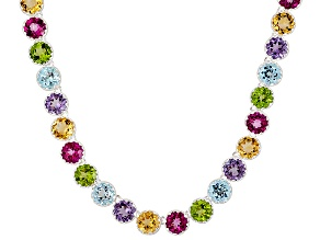 Blue Topaz, Citrine, Peridot, And Amethyst Sterling Silver Necklace 18 inch 33.53ctw