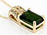 Green Chrome Diopside 14k Yellow Gold Pendant With Chain 1.27ctw