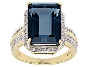 London Blue Topaz 10k Gold Ring 7.96ctw