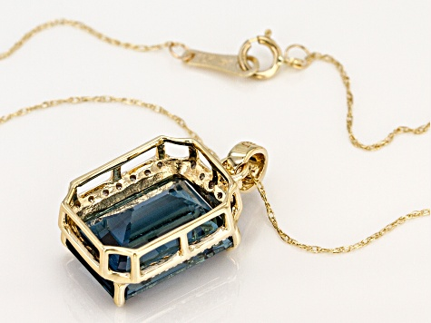 London Blue Topaz 10k Gold Pendant With Chain 7.93ctw