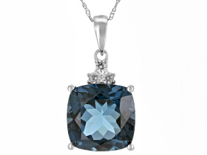 London Blue Topaz Rhodium Over 10K White Gold Pendant With Chain 5.93ctw