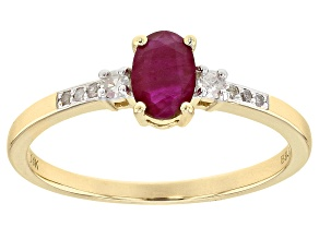 Red Burmese Ruby 14k Yellow Gold Ring .51ctw