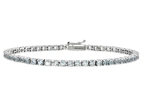 Round 4.30ctw Aquamarine Rhodium Over Sterling Silver Tennis Bracelet