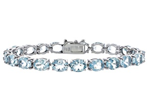 Oval 19.85ctw Aquamarine Rhodium Over Sterling Silver Tennis Bracelet