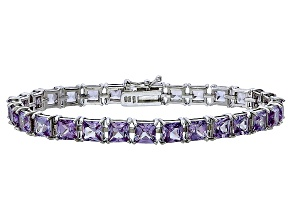 Princess Cut 19.94ctw Lab Created Alexandrite Sterling Silver Tennis Bracelet