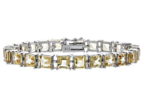 Princess Cut 19.37ctw Citrine Rhodium Over Sterling Silver Tennis Bracelet