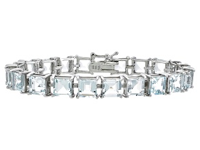 Princess Cut 24.18ctw Aquamarine Rhodium Over Sterling Silver Tennis Bracelet