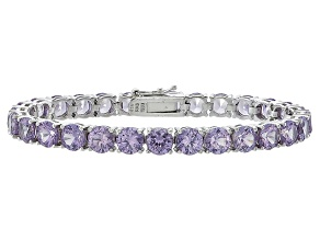 Round 23.80ctw Lab Created Alexandrite Sterling Silver Tennis Bracelet