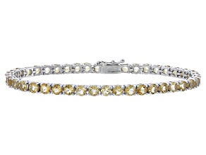 Round 8.82ctw Citrine Rhodium Over Sterling Silver Tennis Bracelet