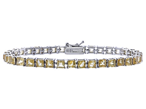 Princess Cut 9.18ctw Citrine Rhodium Over Sterling Silver Tennis Bracelet