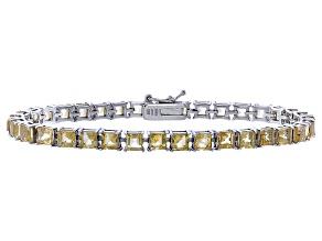 Princess Cut 9.18ctw Citrine Rhodium Over Sterling Silver Tennis Bracelet