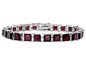 Princess 32.64ctw Vermelho Garnet Rhodium Over Sterling Silver Tennis Bracelet