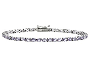 Oval 6.97ctw Lab Created Alexandrite Sterling Silver Tennis Bracelet