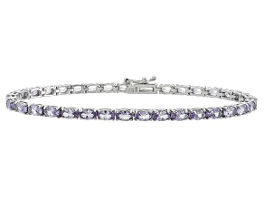Oval 6.65ctw Lab Created Alexandrite Sterling Silver Tennis Bracelet