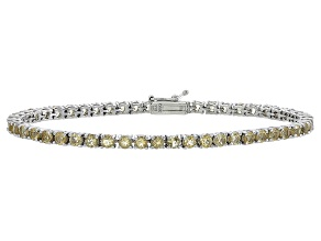 Round 4.50ctw Citrine Rhodium Over Sterling Silver Tennis Bracelet
