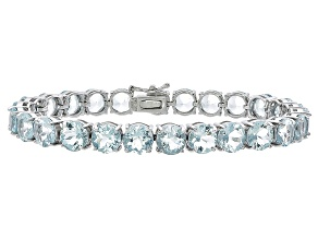 Round 26.34ctw Aquamarine Rhodium Over Sterling Silver Tennis Bracelet