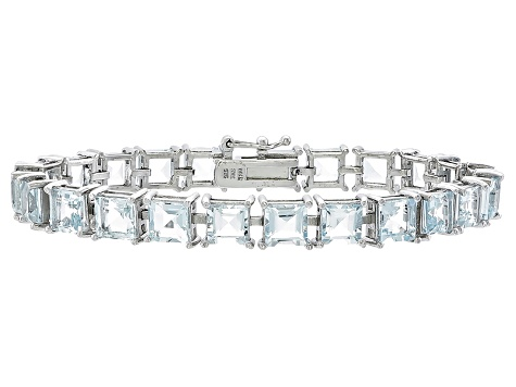Princess Cut 18.22ctw Aquamarine Rhodium Over Sterling Silver Tennis Bracelet