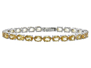 Oval 15.12ctw Citrine Rhodium Over Sterling Silver Tennis Bracelet