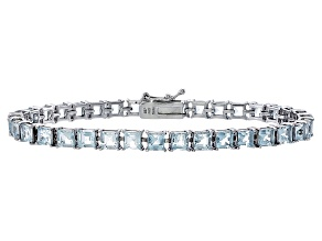 Princess Cut 8.36ctw Aquamarine Rhodium Over Sterling Silver Tennis Bracelet